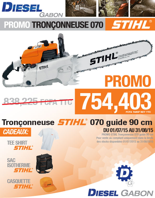 promo tron onneuse stihl 070 guide 90 cm diesel gabon. Black Bedroom Furniture Sets. Home Design Ideas